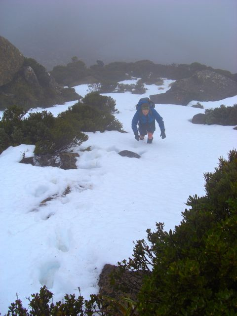 Pushing up to the summit of Mount Picton through snow.