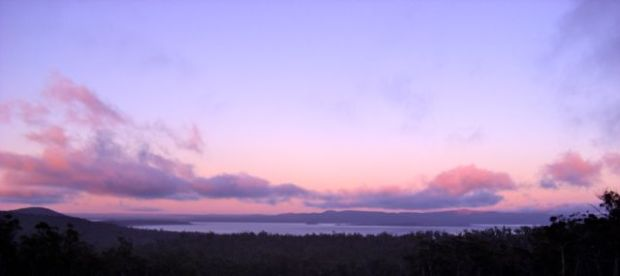 Sunrise colours on the way up, looking over the Great Lake