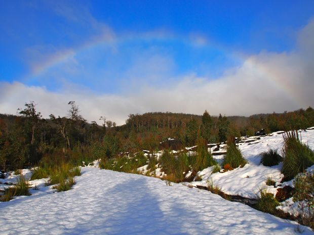 A rainbow to start the day.. love how the clouds change the vibrancy of the colour!