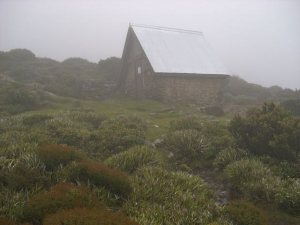 Hut in the mist, early morning