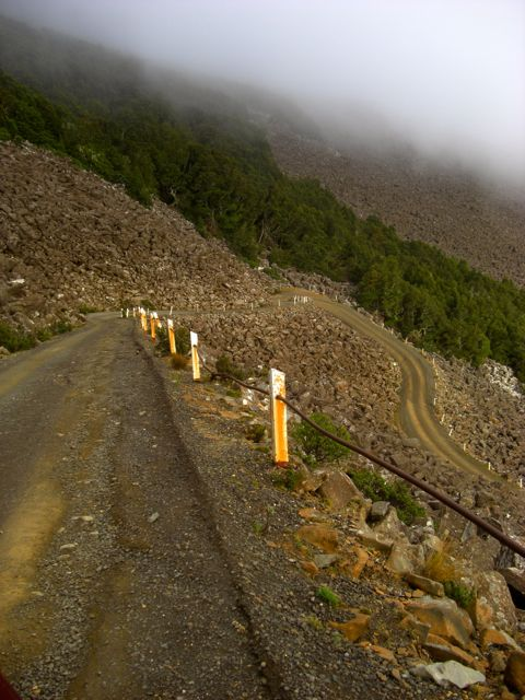 Road through scree, on the way down