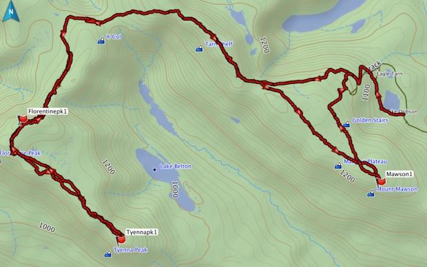 Florentine, Tyenna, Mawson GPS route