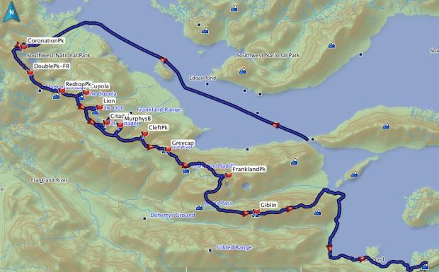 Frankland Range GPS route