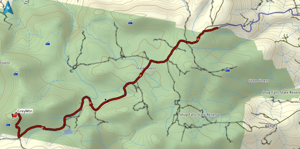 Grey Mountain GPS route