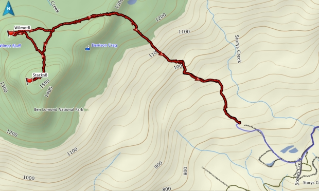 GPS route up Stacks and Wilmot Bluffs