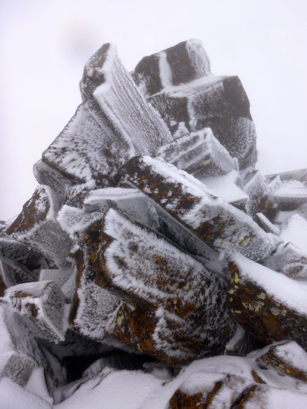 Rock, and ice patterns made by wind