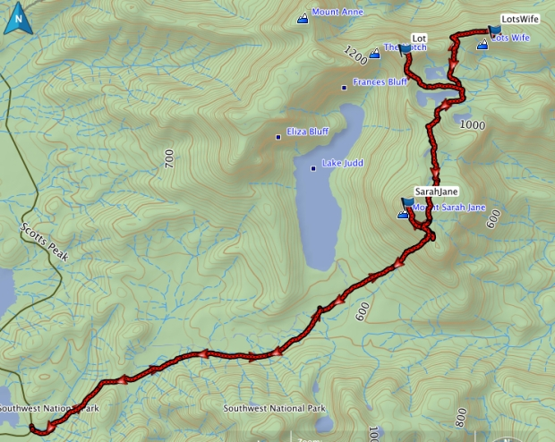 Lots Wife, Lot and Sarah Jane GPS route