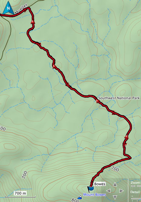 Mount Bowes GPS route