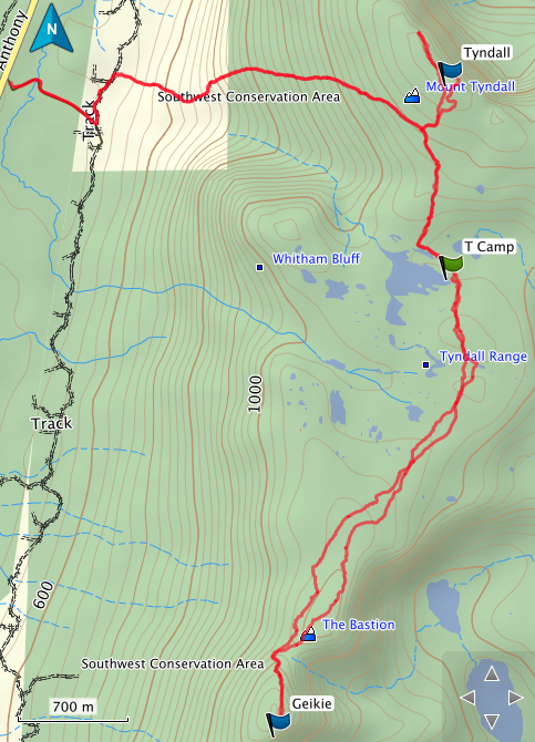 Tyndall and Gieke GPS route
