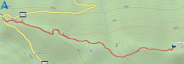 Mount Claude GPS route