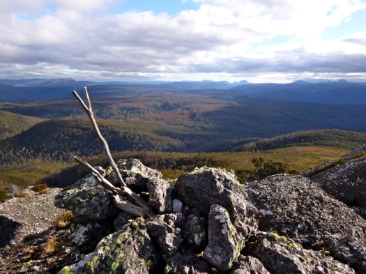Summit cairn and view