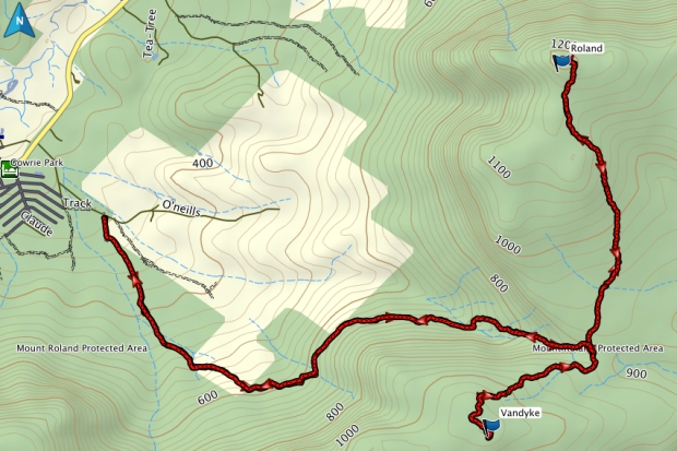 Roland and Vandyke GPS route