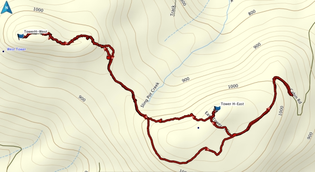East and West Tower Hills GPS route