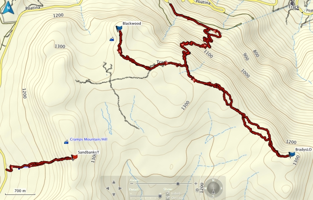 Bradys LO, Mt Blackwood and Sandbanks Tier GPS route
