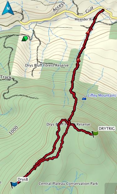 Drys Bluff GPS route