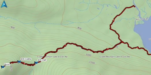 Byron route from the Overland Track, approx. 3 hr return