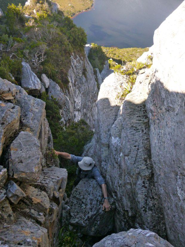Climbing one chockstone on Carina :D