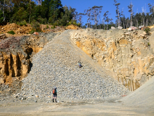 Jack goes climbing the gravel piles back at the quarry :)