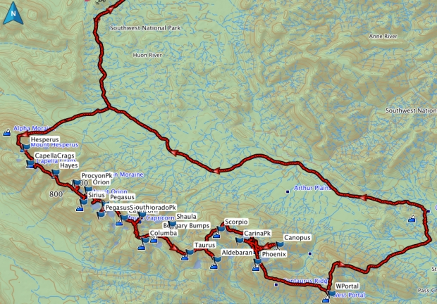 Western Arthurs Full Traverse GPS route