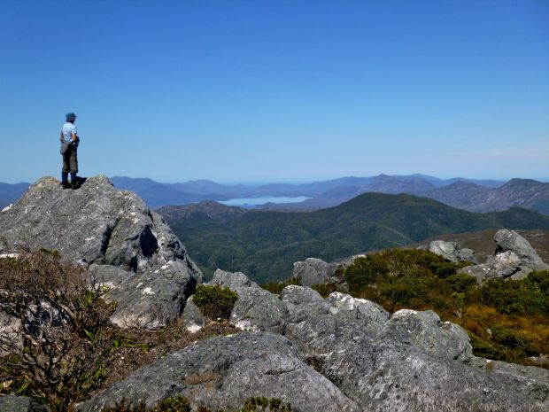 Rachel on top, looking out to Port Davey