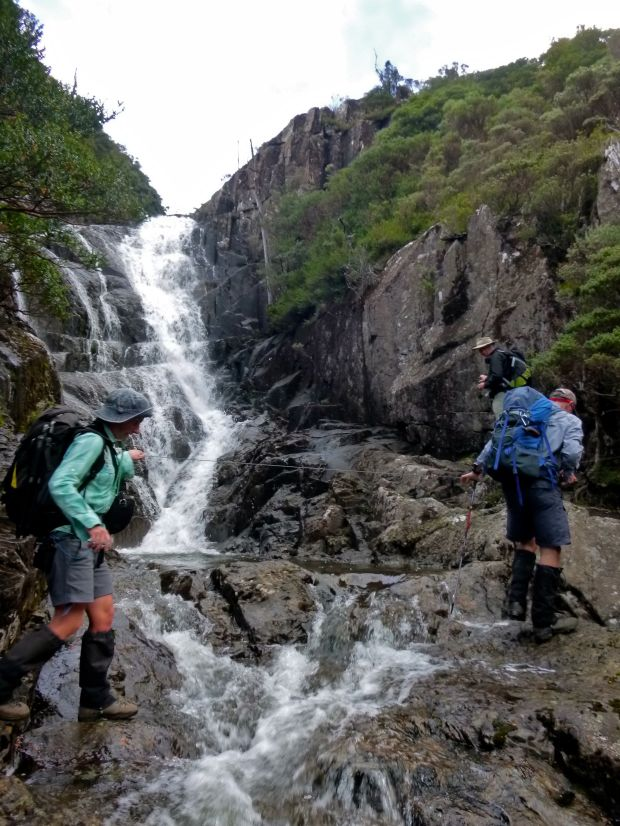 Waterfall crossing.. it was with dread that we approached this spot for a third time on the walk