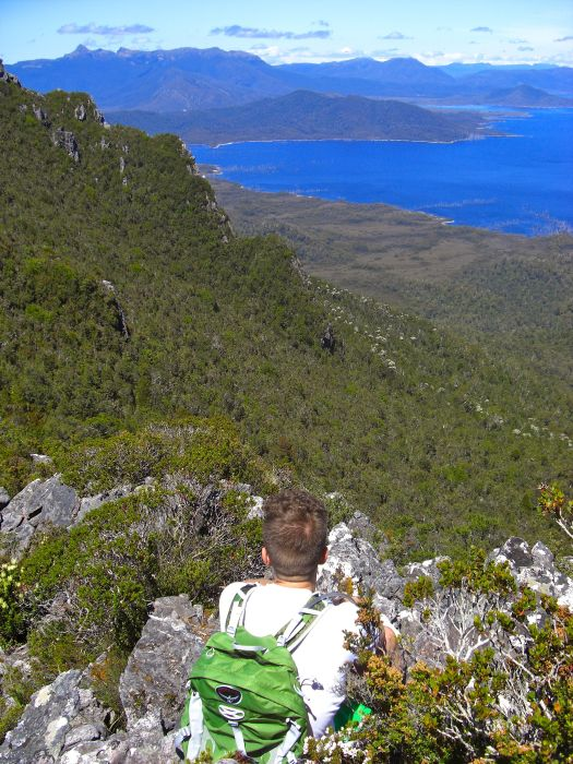 Though this is a hint of what can be seen on a clear blue day.. my brother checking out Mt Anne..