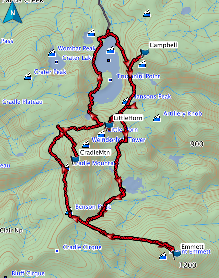 Campbell, Little Horn, Emmett and Cradle GPS route