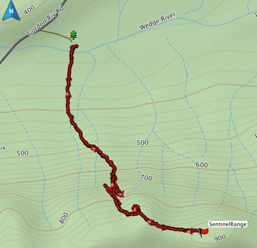 The Sentinel Range GPS route