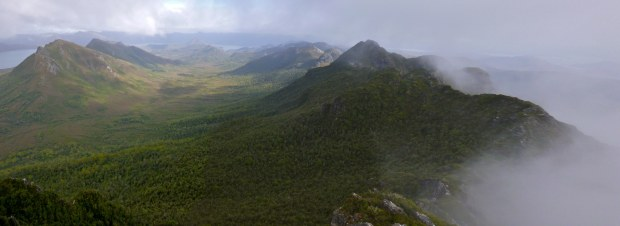 Panorama of the Coronets and the end of the Sentinel range ridge.