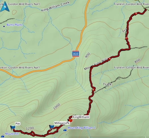 King William I, Pitt and Milligan GPS route
