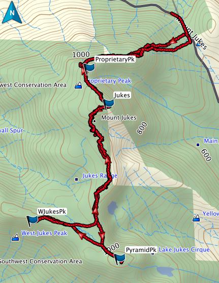 Proprietary, Jukes, Pyramid, West Jukes GPS route
