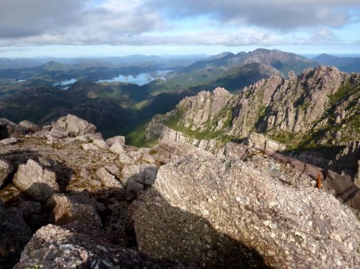 Sitting on the summit boulder, looking over at Jukes and having a moment.