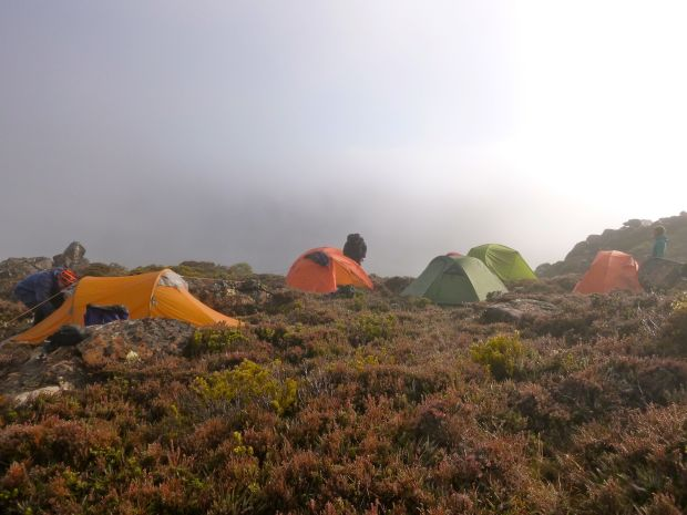 Our camp the following morning.. still no views, but there's promise!