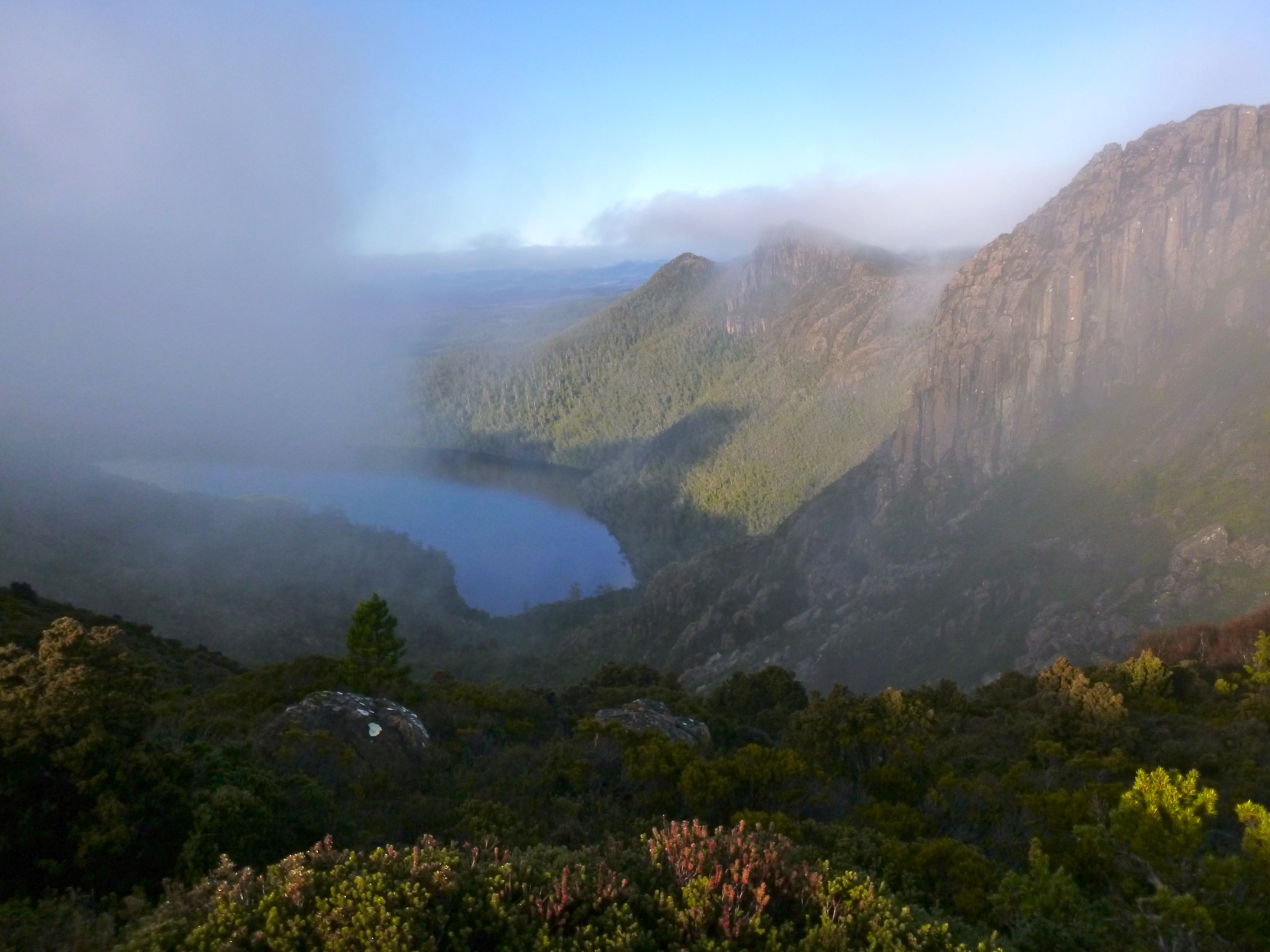 Shortly after heading out, the mist swirls around us, and we get pockets of views.