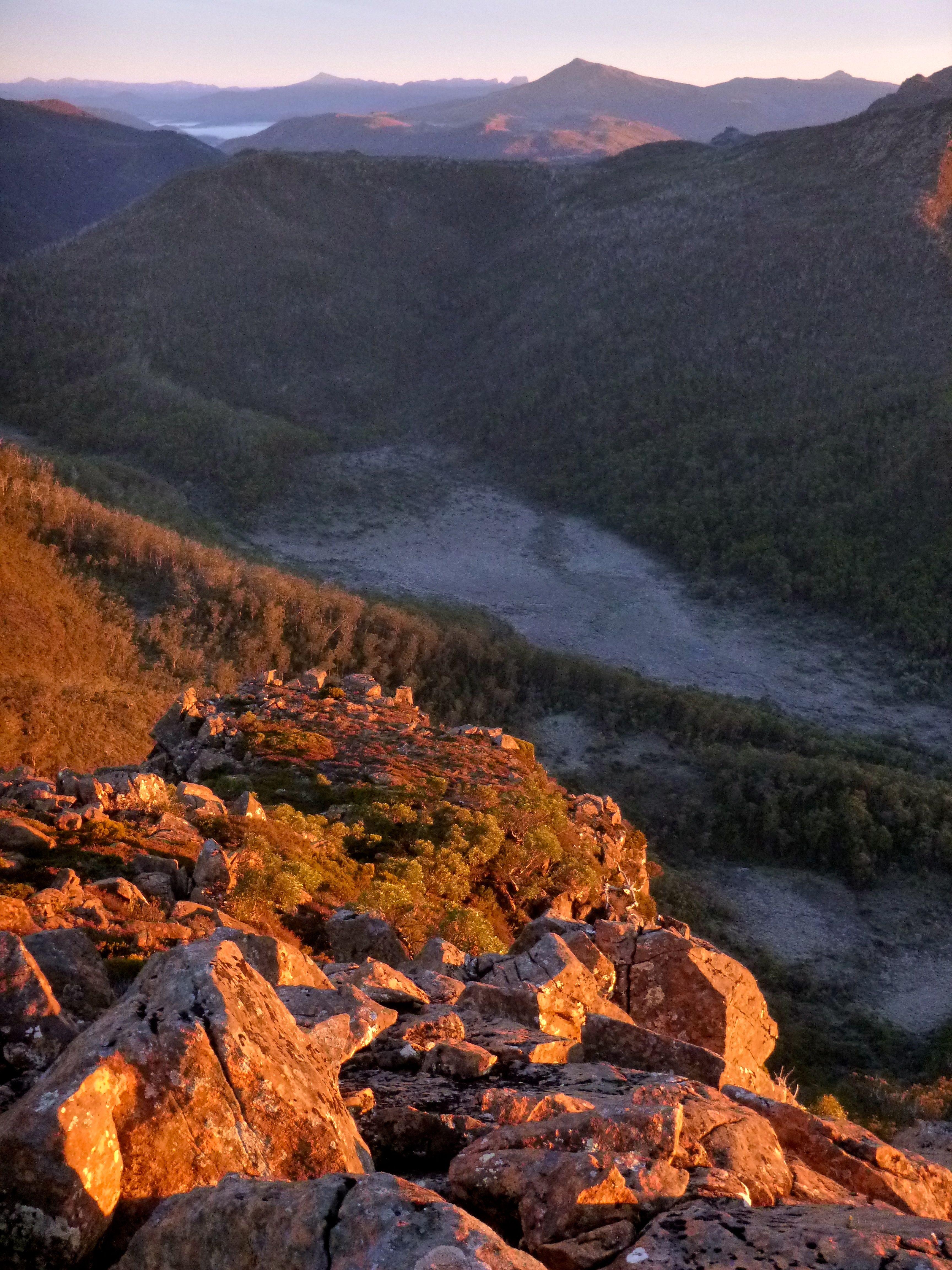 Frost in the valleys.. the Eldon range behind.
