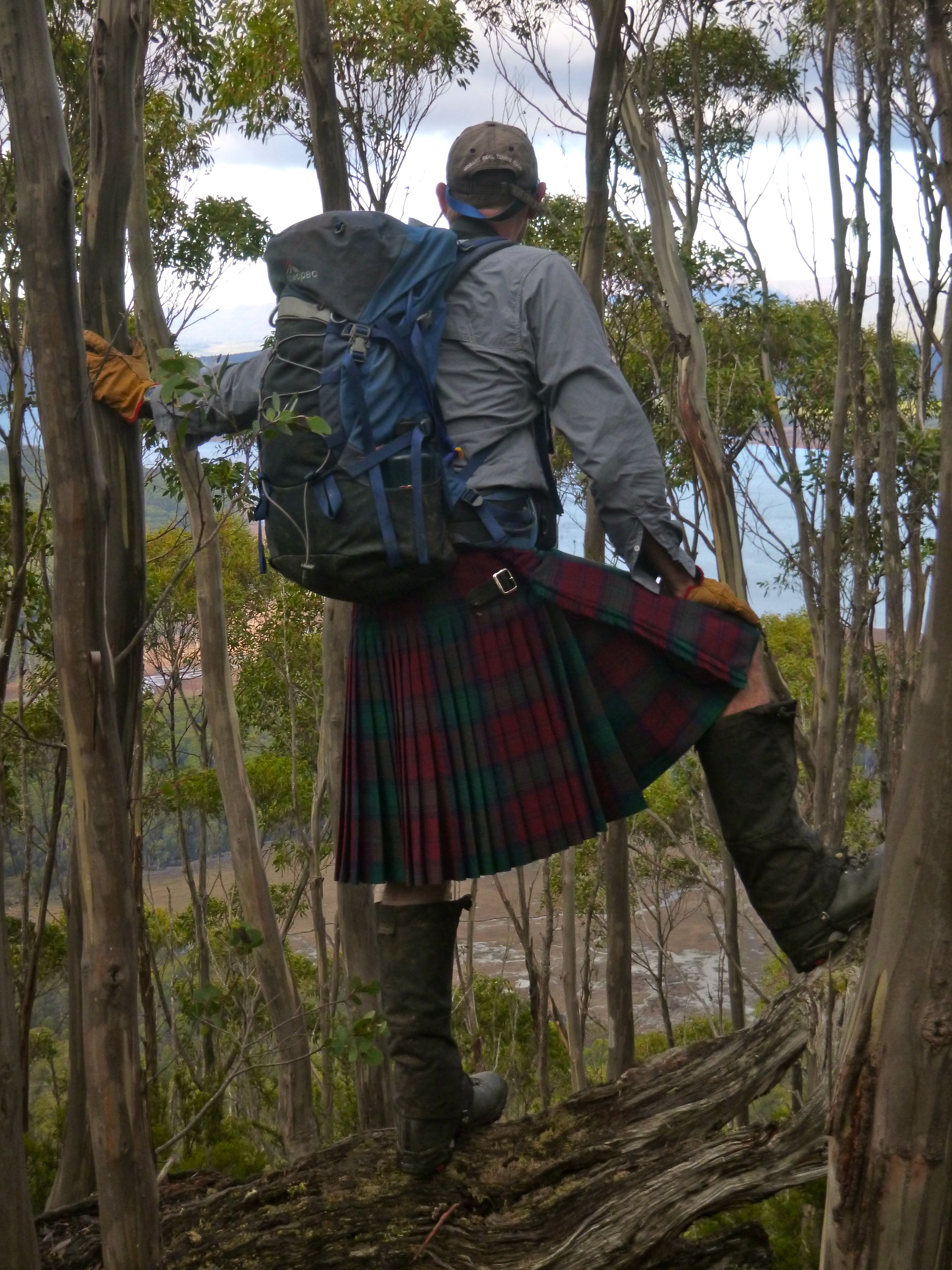 The kilt makes it's long awaited (threatened?) debut. On the summit of Mt Charles.