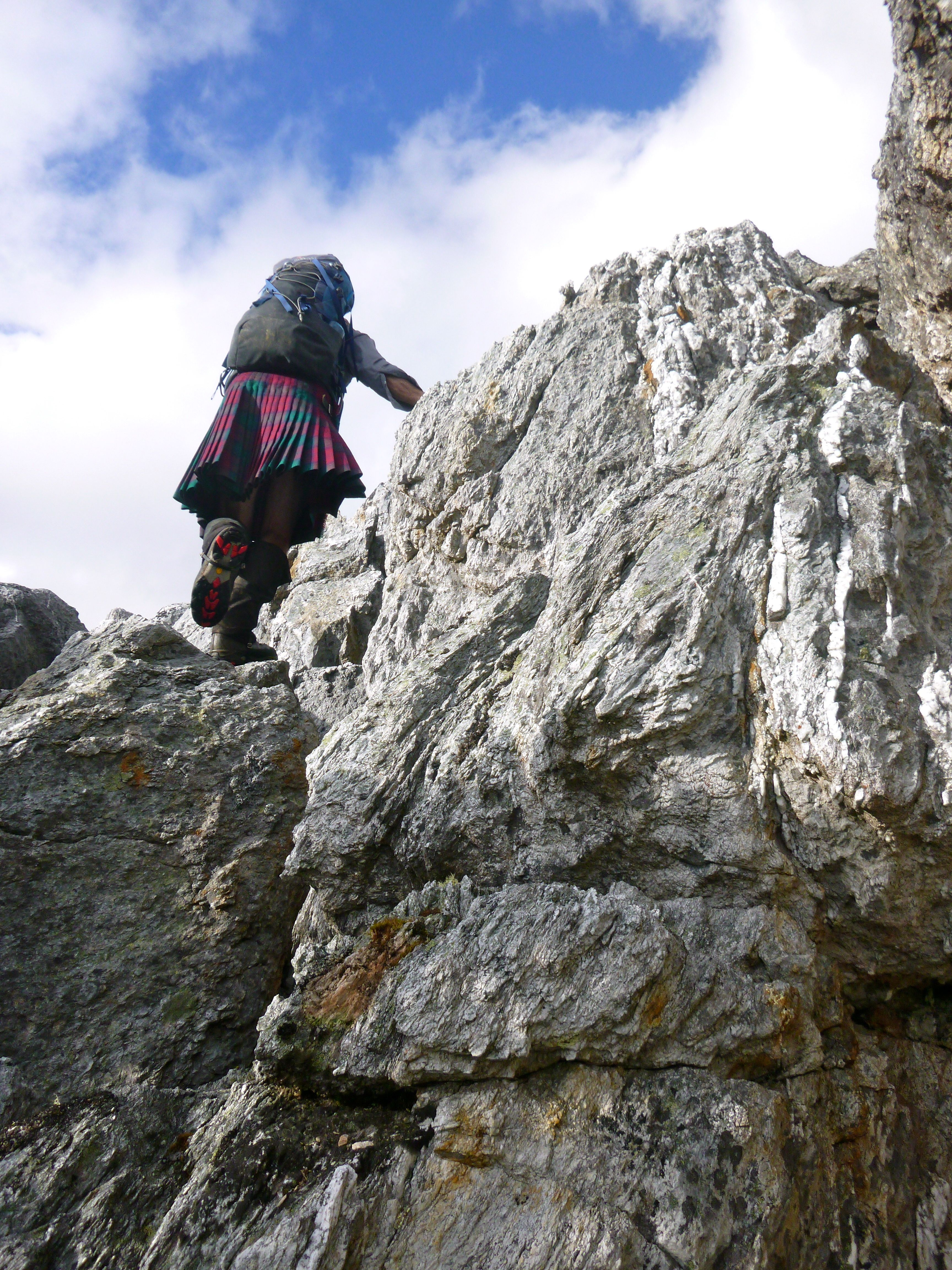 Apparently there's no good reason not to climb in a skirt, or kilt as the case may be!