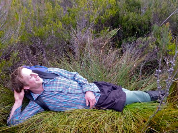Exhausting work.. button grass also doubles as a wonderfully comfortable bed, as Ben willingly demonstrates.