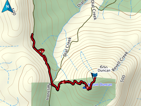Mount Duncan GPS route.