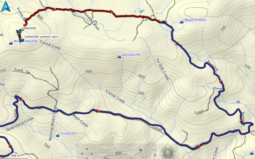 Mount Littlechild GPS route