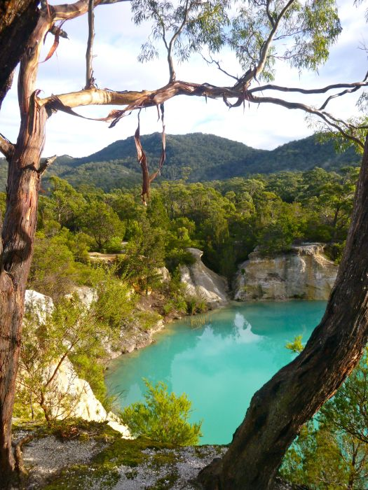 Little Blue Lake.. with turquoise water, despite cloudy sky