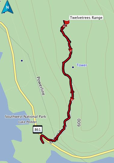 Twelvetrees Range GPS route