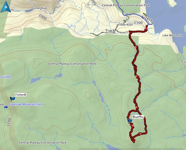 Blue Peaks GPS route