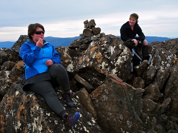 Bec with her peeps on the summit