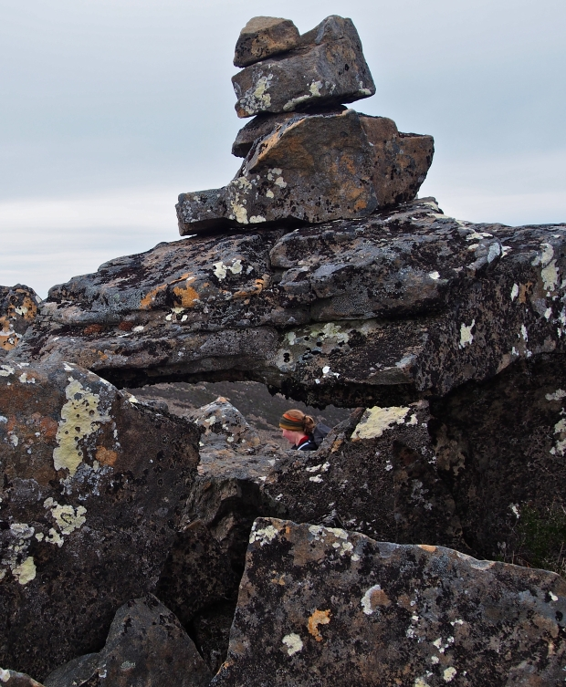 The summit cairn was cool, balancing like we had on rock.. Jess stands in just the right position!