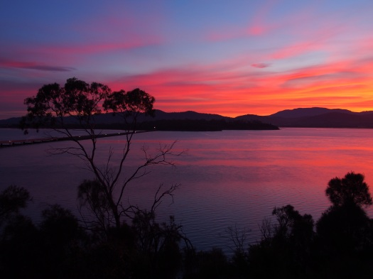 Sunset colours over Wellington and the causeway