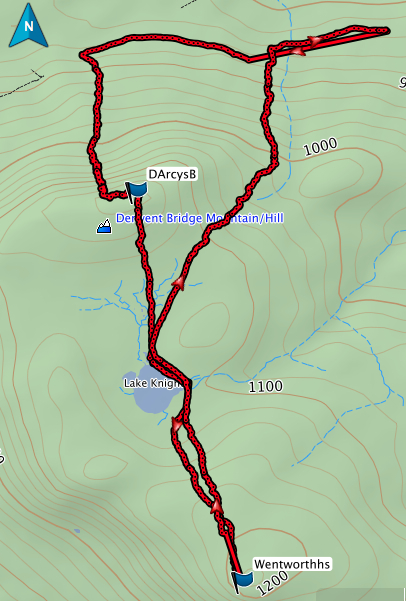 D'Arcy's Bluff and Wentworth Hills GPS track
