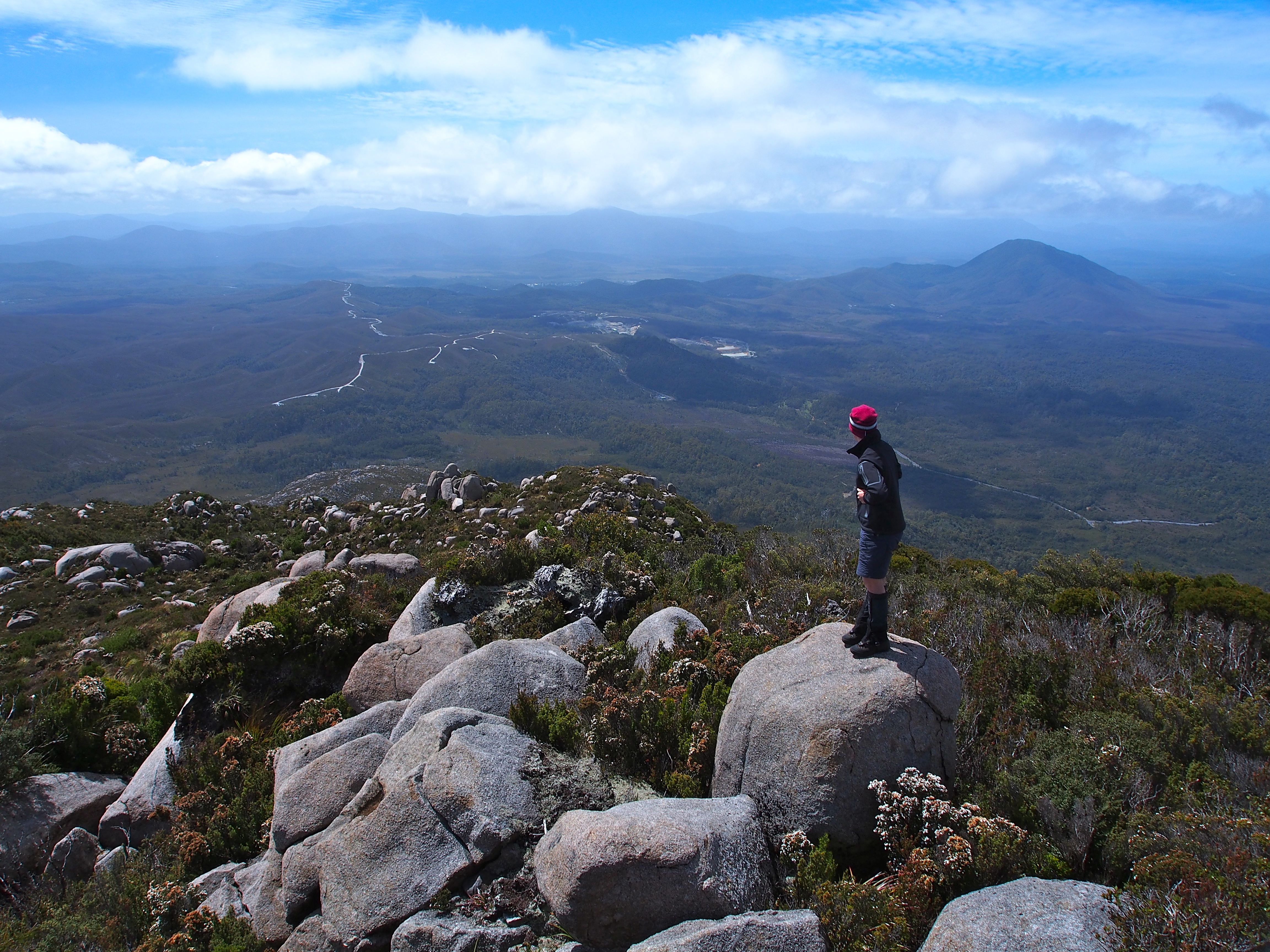 Checking out the mountains, Zeehan on the right