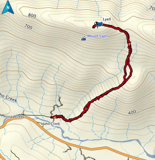 Mount Lyell GPS route