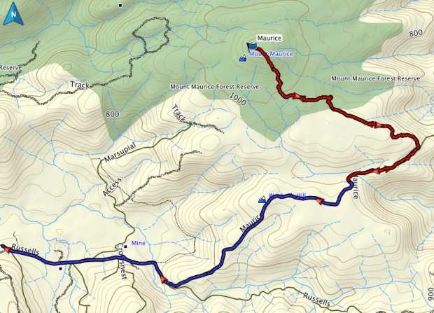 Mount Maurice GPS route